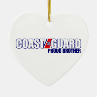 Proud Coast Guard Brother Ceramic Heart Decoration
