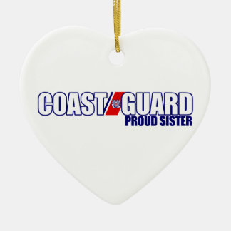 Proud Coast Guard Sister Ceramic Heart Decoration