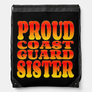 Proud Coast Guard Sister in Cheerful Colors Cinch Bags