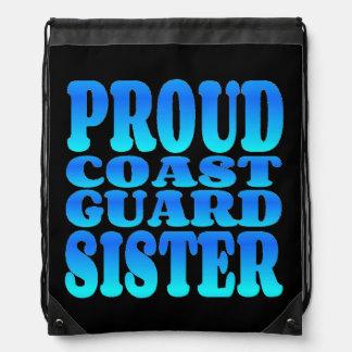 Proud Coast Guard Sister Drawstring Bags