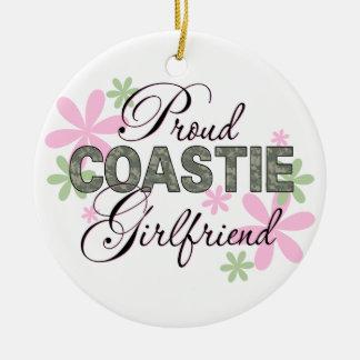 Proud Coastie Girlfriend Camo Christmas Tree Ornaments