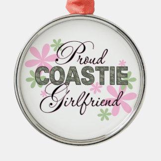 Proud Coastie Girlfriend Camo Silver-Colored Round Decoration