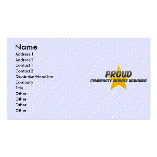 Proud Community Service Manager Business Card Templates