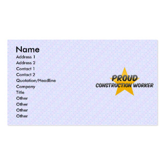 Proud Construction Worker Business Card Templates