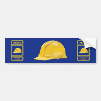 Proud Construction Worker Shield Bumper Sticker