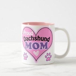 Proud Dachshund Mom Two-Tone Mug