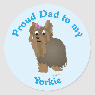 Proud Dad to my Yorkie Classic Round Sticker
