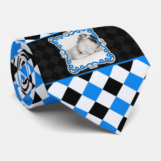 Proud Daddy | Blue and Black Checkered | Photo Tie