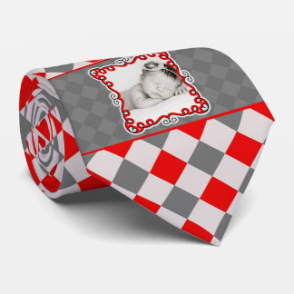 Proud Daddy Power Tie in Red and Grey Checks
