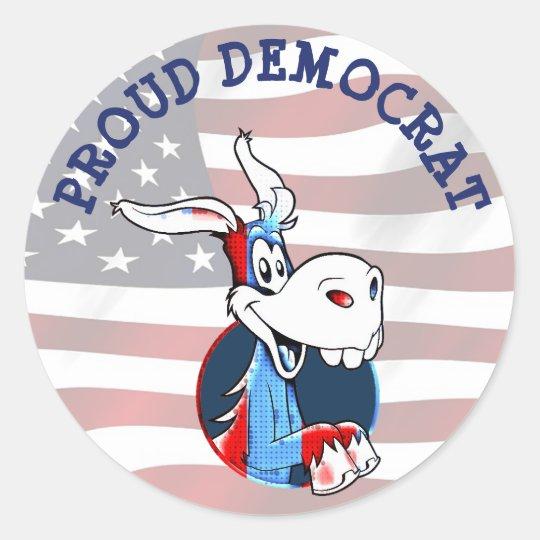 Proud Democrat Political Party Donkey Patriotic Classic Round Sticker