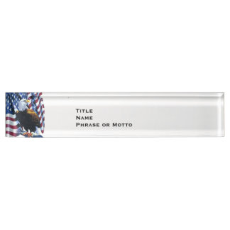 Proud Eagle American Flag USA red white blue Name Plate
