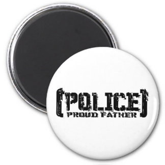 Proud Father - POLICE Tattered 6 Cm Round Magnet
