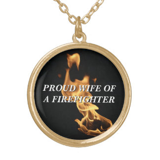 Proud Firefighter's Wife Flames Gold Plated Necklace