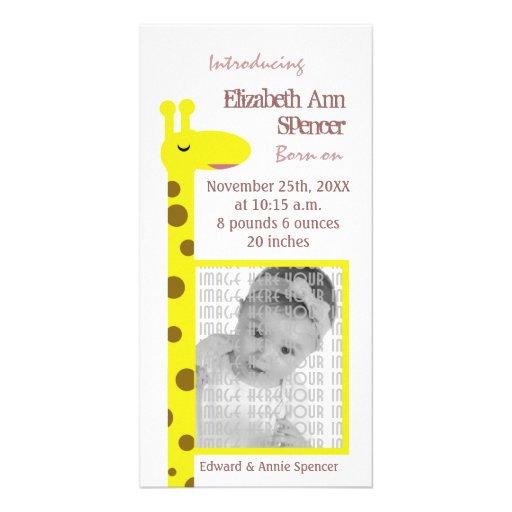 Proud Giraffe Baby announcement Photo Cards
