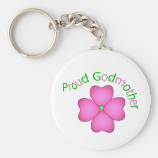 Proud Godmother Basic Round Button Key Ring