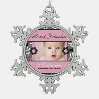 Proud Godmother Photo Ornament | Pink Christmas