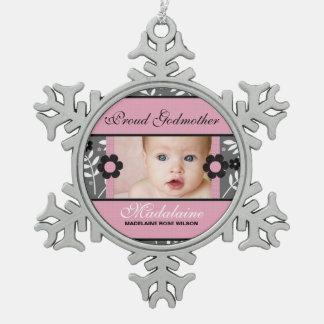 Proud Godmother Photo Ornament | Pink Christmas