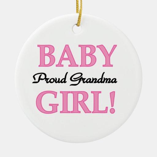 Proud Grandma Baby Girl Gifts Round Ceramic Decoration