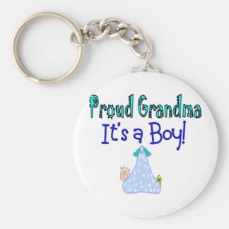 "Proud Grandma, ""It's a Boy!"" Gifts Basic Round Button Key Ring"