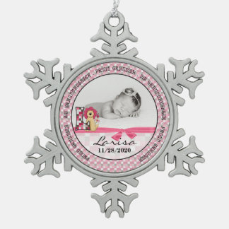 Proud Grandma | Monogram L | Pink New Baby Pewter Snowflake Decoration