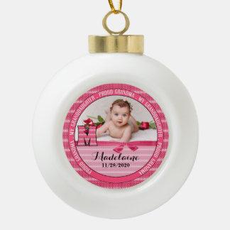 Proud Grandma Monogram M New Baby Girl Ceramic Ball Decoration