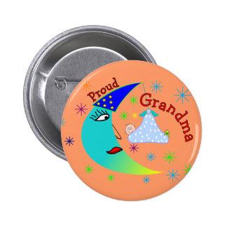 Proud Grandma New Baby Boy 6 Cm Round Badge