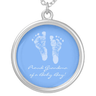 Proud Grandma of a Baby Boy Blue Footprints Round Pendant Necklace