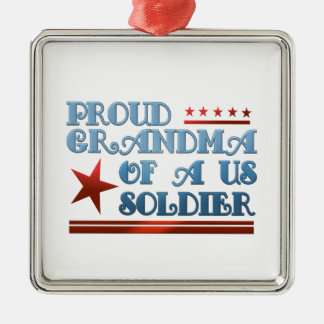 Proud Grandma of a US Soldier Silver-Colored Square Decoration