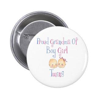 Proud Grandma of Boy Girl Twins 6 Cm Round Badge