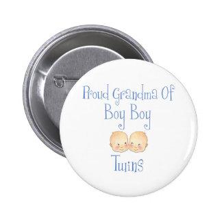 Proud Grandma of Boy Twins 6 Cm Round Badge