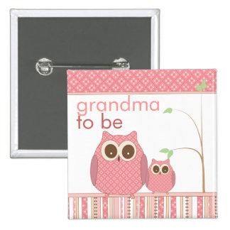 Proud Grandma to Be Baby Girl Owl Pin
