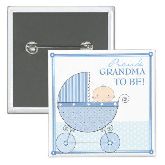 Proud Grandma to Be Sweet Baby Boy Blue Carriage 15 Cm Square Badge