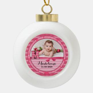 Proud Grandparents Monogram M New Baby Girl Ceramic Ball Christmas Ornament