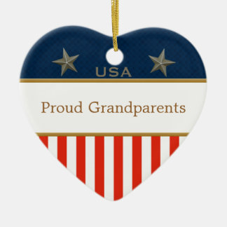 Proud Grandparents Patriotic Photo Heart Ceramic Ornament