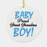 Proud Great Grandma Baby Boy Gifts Round Ceramic Decoration