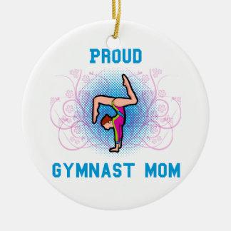 Proud Gymnast Mom Round Ceramic Decoration