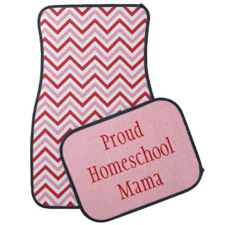 Proud Homeschool Mama Pink and Red Chevron Car Mat