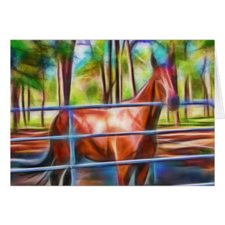 Proud horse behind gate greeting card
