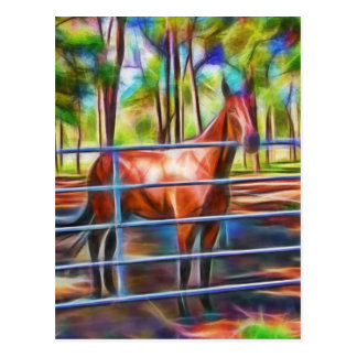 Proud horse behind gate post card