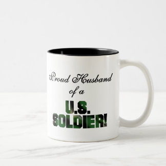 Proud Husband of a US Soldier Tshirts and Gifts Two-Tone Coffee Mug