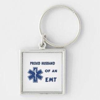 Proud Husband Of An EMT Silver-Colored Square Key Ring