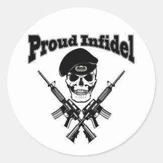 Proud Infidel (Skull) Classic Round Sticker