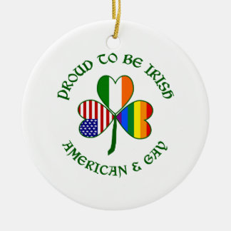 Proud Irish American & Gay Round Ceramic Decoration