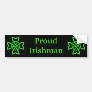 Proud Irishman Green Celtic Knots Bumper Sticker