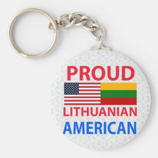 Proud Lithuanian American Basic Round Button Key Ring