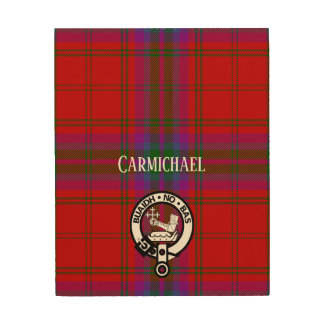 Proud MacDougall Plaid and Crest Wood Print