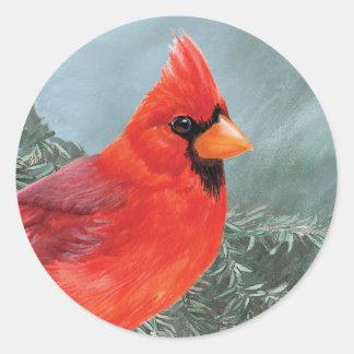 Proud Male Cardinal Round Sticker