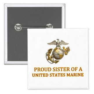 Proud Marine Sister Pinback Button
