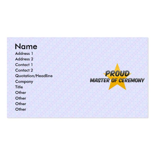 Proud Master Of Ceremony Business Cards