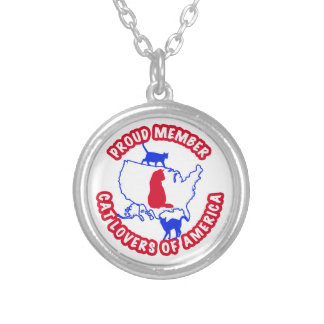 Proud Member CAT LOVERS OF AMERICA Silver Plated Necklace